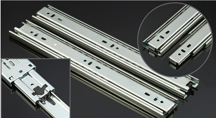 """stainless steel Pair smoothly mute 20""""Full Extension Drawer slide rail stainless steel three track ball guide rail(China (Mainland))"""