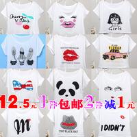 Spring and summer women's loose o-neck print plus size short design shirt o-neck tops short-sleeve T-shirt
