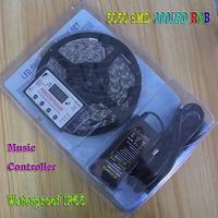 5M 5050 SMD RGB LED Strip Light Set 300LEDS 60led/m Waterproof IP65 DC 12V 5A Power Supply Adapter + Sound Music Controller
