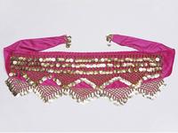 Belly Dance Belt Hip Scarf Skirt Costume Wrap Gold Coins Band Gemstone Velvet 9 Colors