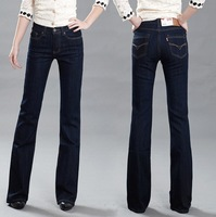 Free Shipping High Quality Women's High Waist Boot  Cut Jeans Female Plus Size Flares Pants Large size trousers 26-36