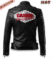 New listing! Hot sale European American men rivet Punk leather motorcycle badge embroidered leather jacket