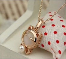 European and American fashion jewelry necklace Lucky Cat Woman sweet gift     Free Shipping
