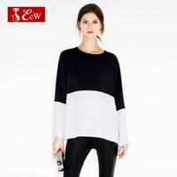 ECW European Style Women T shirt With Long Sleeve Fashion Splice Chiffon T shirt Casual Loose Women Tops