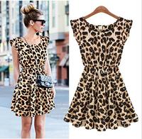 2014 New Fashion Womens Summer Casual Pleated Leopard Print Dress Sundress Crew Neck Cap Sleeve Mini Club Dresses