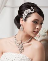 Wholesale bridal wedding jewelry choker necklace earrings lucky bird Phoenix noble Parure rhinestones jewelry sets 0198
