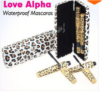 150sets =300pcs Free shipping Curling New Waterproof LOVE ALPHA Double Brand Mascara with Panther Leopard Case Mascaras Set