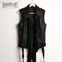 Punk motorcycle vest novelty fashion personality male winter vest PU leather coat black