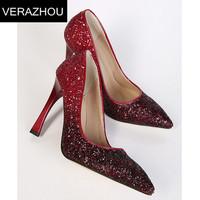 Spring 2015 Women pumps High heel shoes Platform Fashion Sequins Gradual change Horseshoe with Wedding decoration Sexy Brand