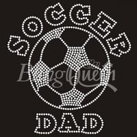 25PCS/LOT Custom Iron On Rhinestone Soccer Dad Design