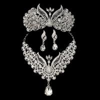 Bridal princess peacock tiara luxury crown choker necklace earrings silver plated rhinestones wedding jewelry jewelry sets 0196