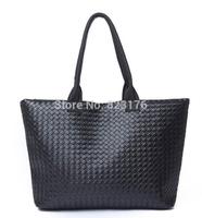 2014 Hot selling Korean handwoven high capacity shopping bag PU leather single shoulder bags fashion big ladies woven tote