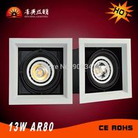 AR80 LED COB Grille Lamp  13W  Aluminum Deep Arc Design LED Light AC100-240V  Indoor Llighting High Quality  1 piece/bag