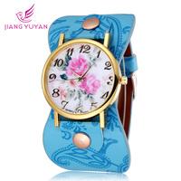 New fashion 2015 Women Watches Brand Flower Design Watch High Quality Quartz Watches Leather Straps Wristwatch