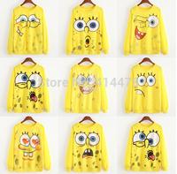2015 new fashion Women's Cartoon expression Printed Hoodies Leisure tracksuit Sweatshirt yellow sport suits Woman Hoodie