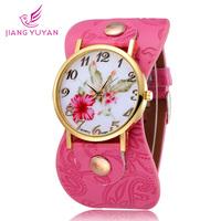 New Arrival Fower Design Fashion Casual Watch Quartz Leather Straps Watches Women Wrist  Watch