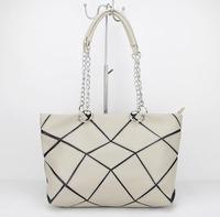 2015 spring and summer shoulder bag black-and-beige geometry leather patchwork bag work women's fashion handbag H090 beige