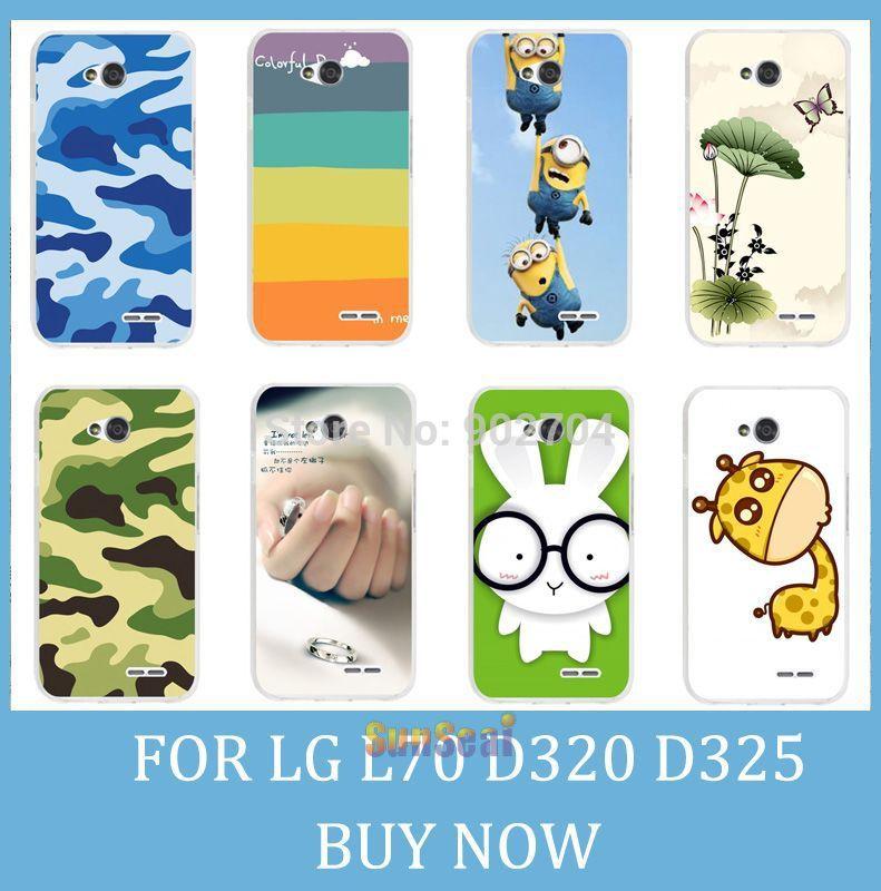 For LG L70 D320 D325 Case Girl Leopard Zebra Skull Cat Fish Lotus Flower Rainbow Hard Back Cell Phone Case(China (Mainland))