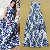 European Runway Designer Long Dress Women's High Quality Sleeveless Vintage Blue and White Porcelain Printed Vintage Tank Dress