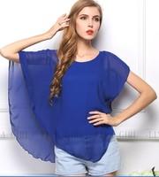 Hot plus size Ladies Summer Chiffon Blouses & shirts  Bat Sleeve blousas shirts ( chiffon top+ vest)WL2235