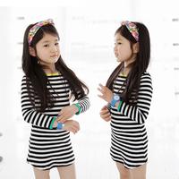 Aones Spring Girls Dress Long Sleeve Casual Children Dresses Autumn Stripe Kids Cotton Clothes Princess Costume Vestidos DS157