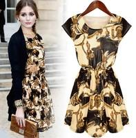 2015 women dress European and American Summer new fashion casual Women's dress sleeveless floral dress ladies plus size S-3XL