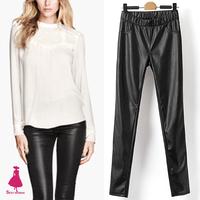 2015 Street Trendy Lady Retro Elastic Waist Fleece Skinny Faux Leather Pants Trousers New Arrivals