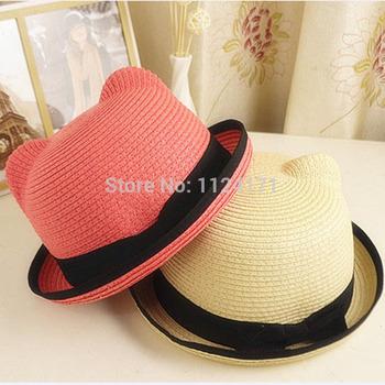 2015 новый дети мягкая фетровая шляпа шляпа детей пляж солнце шляпа соломенная урожай мальчик и девушка широкими полями шляпы