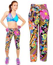 Free shipping 2015 new fashion women sports pants emoji joggers y pants 7 pants leggings printing