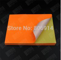 Free Shipping 100pcs/lot orange Non-standard sticky self-adhesive A4 210*290mm matte(matt)gloss printing paper color paper