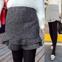 Women Princess Basic Slim Empire Waist Tweed Fabric Woolen Short Skirt Lady Preppy Fish Tail Ruffle Bud Skirt 3229
