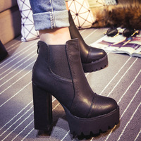 2015 sexy ultra high heels boots female round toe martin boots thick heel platform ankle boots