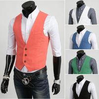 2015 New Arrival! Men Suit Vest High Quality Slim Vest Men's Casual  Fashion Tank Top chaleco Vest White Black Orange Green Blue
