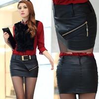 2015 new sexy leather short skirt zipper tropical saias femininas plus size free shipping(no belt)
