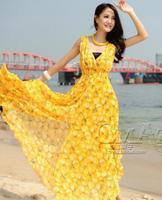Lovely cute Deep V Neck Sleeveless Chiffon Bohemia Maxi Long Beach Dress Oranges Print J&K svenWC1141