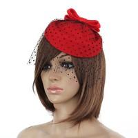 Womens Lady Vintage Fascinator Wool Hair Pillbox Hat Bowknot Veil Hairclip