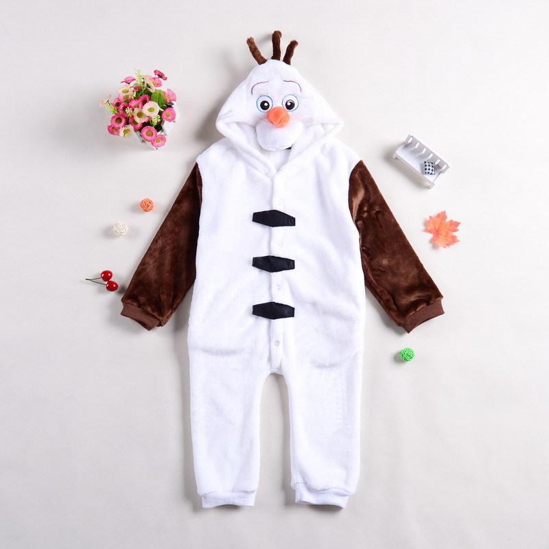 Anime Cosplay Olaf Snowman Pajamas Flannel Jumpsuit Halloween Christmas Carnival Kids Costume Child Onesie Pyjamas Party Dress(China (Mainland))