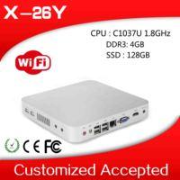 embedded industrial PC celeron desktop pc thin computing X-26Y 2 lan 4GB RAM 128GB SSD support wifi and HDMI.