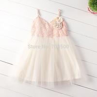 2015 Children Lace Tulle Sling Vest  Dress Princess Summer Boutique Party Dance Clothing 5 pcs/lot,Wholesale