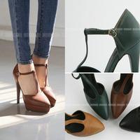 Women Genuine Leather Shoes Green Brown Vintage Genuine Leather Platform T-Strap Stiletto High Heels Women Pumps Pointed Toe