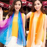 New Women's Bohemian Beach Colorful Mixed Color Large Wraps Shawl Chiffon Scarf Free Shipping