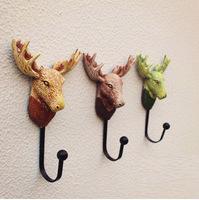 New! 3pcs/lot Antique Resin Deer Head Decorative Wall Hanger Metal Coat & Hat Wall Hook Bar & Home Decoration