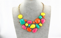 2015 Valentine's day Gift Fashion jewelry luxury gem women's short design necklace Factory Wholesale,OS28