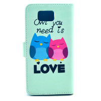 New Style Fashion Owl Flower Elephant PU Leather Case for Samsung Galaxy Alpha G850F Wallet Flip Cover Phone Bag Stand 10pcs/lot