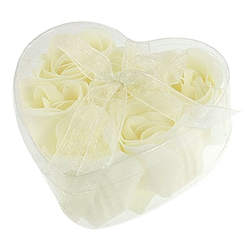 2015 Hot New Bathing Shower Off White Rose Flower Bath Soap Petals w Heart Shaped Box(China (Mainland))
