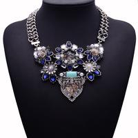 2015 New Arrival Women Statement Luxury Vintage Flower Gem Necklace &Pendants Hotsale Collar Necklace Jewelry 9912