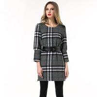 Plus Size L-5XL Grey Black and White Plaid Women Woolen Shift Dress With Belt #SN1853