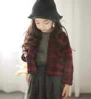 Children's clothing 2015 new spring autumn girls child elegant claretred all-match o-neck short outerwear kid's jacket baby coat