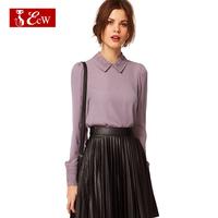 ECW Women Shirts Fashion Chiffon Blousas Vintage Style Turn Down Collar Botton Carigans Shirts Spring Summer Pattern Blousas