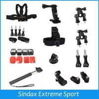 New Accessories Set Kit Mount For Cameras Gopro Hero 1 2 3 3+ 4 Chest Belt Head Mount Strap Sj4000 Black Edition Kit